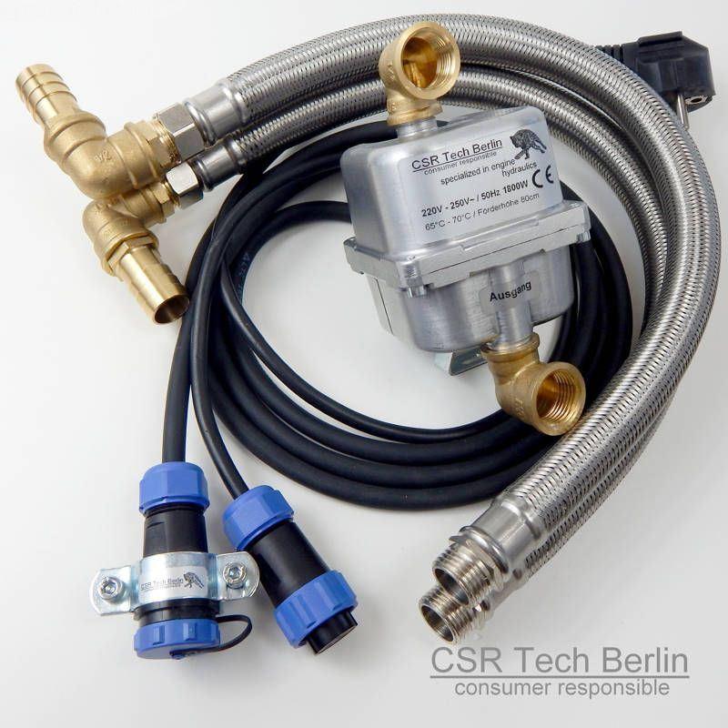 """Motorvorwärmer 1800w mit 1/2"""" DN16 Flexschlauch und IP68 Zusatzanschlusskabel"""