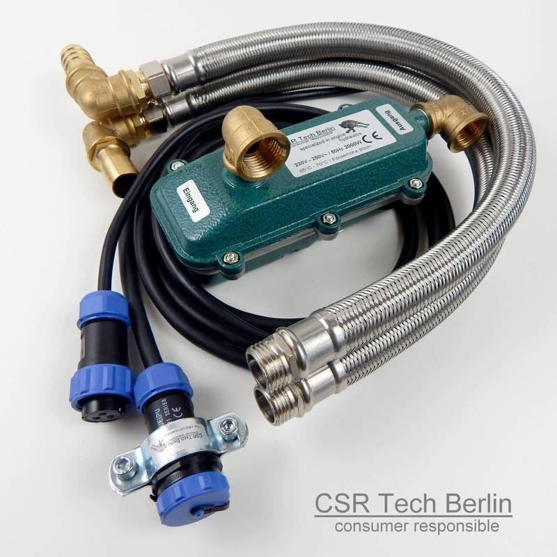 """Motorvorwärmer 2000w mit 1/2"""" DN16 Flexschlauch und IP68 Zusatzanschlusskabel"""